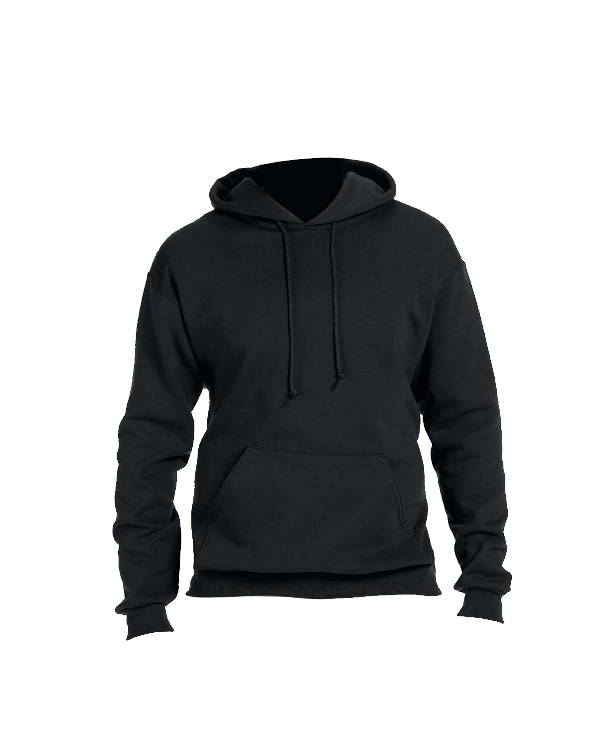 Adult black hooded sweatshirt front