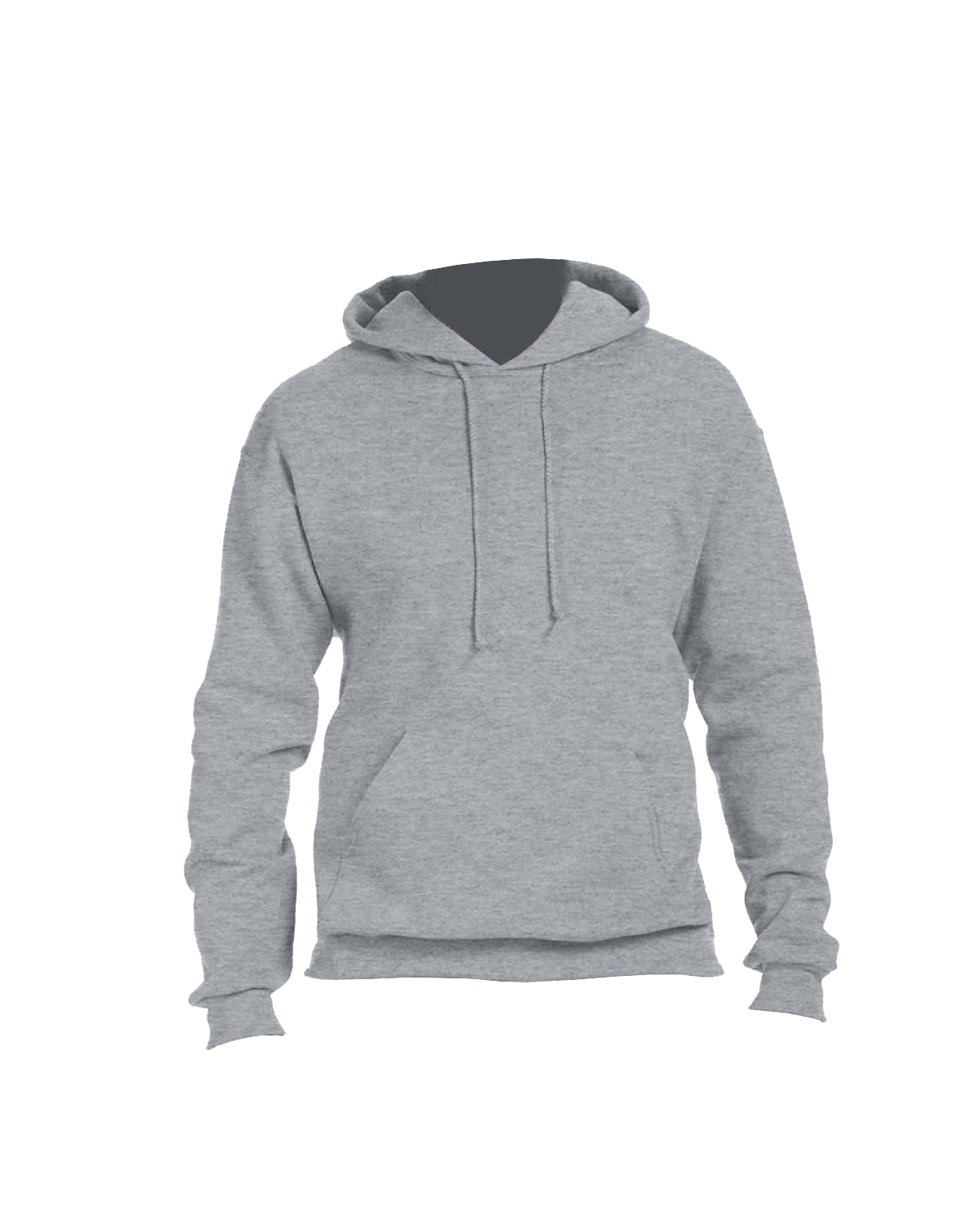 Adult grey hooded sweatshirt front