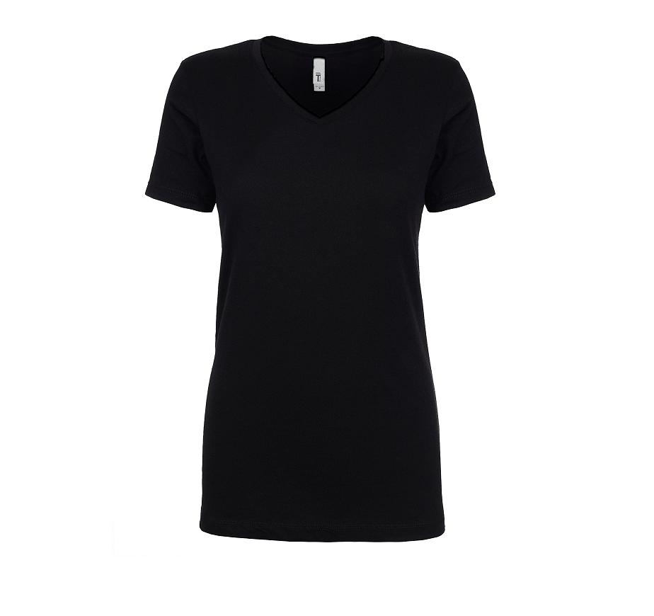 Next Level Ladies' Ideal V neck t-shirt front black n1540-min
