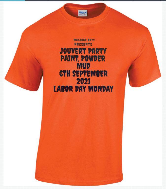 jouvert t-shirt orange